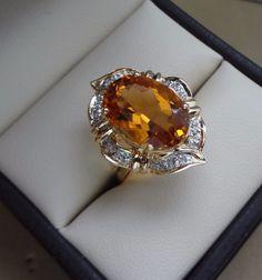 14K YELLOW GOLD 5.00 CARAT OVAL CITRINE GEMSTONE RING W/ DIAMOND PAVE HALO #Halo