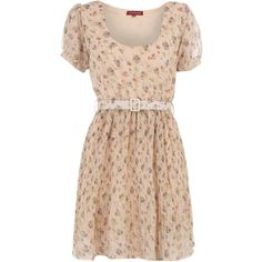 Stone floral pleated dress (12 CAD) ❤ liked on Polyvore featuring dresses, vestidos, short dresses, vestiti, women's clothing, floral print cocktail dress, short sleeve dress, floral dresses, beige cocktail dress and short sleeve cocktail dresses