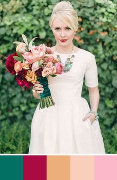There's a lot going on in this color scheme. But we think this bouquet is incredibly modern and romantic. Source: Green Wedding Shoes. #bouquet #emeraldgreen #colorpalette