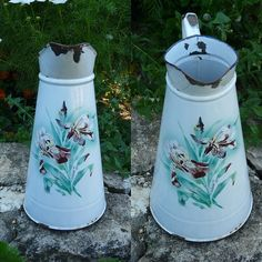 Antique French Enamelware Body Pitcher - Shabby French Country Cottage Iris Bouquet Enamel Watering Can - French Garden