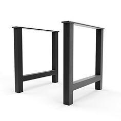 "16"" X-Style Modern Frame Legs (Raw Steel) ▫ Set of 2 Industrial Strength Table Legs ▫ 16"" Height X 16"" Length X 2.75"" Width ▫ DIY Bench Legs, Coffee Table Legs, Etc."
