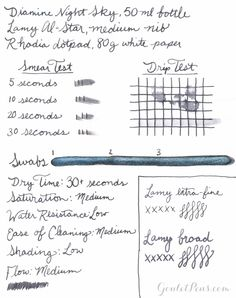 New from Diamine.... the Shimmertastic collection! This black fountain pen ink features added silver shimmer. Works best with broader nibs on high quality paper to really see the shine. 50ml glass bottle.<style> <!--  /* Font Definitions */ @font-face {font-family:Calibri; panose-1:2 15 5 2 2 2 4 3 2 4; mso-font-charset:0; mso-generic-font-family:auto; mso-font-pitch:variable; mso-font-signature:3 0 0 0 1 0;}  /* Style Definitions */ p.MsoNormal, li.MsoNorma...