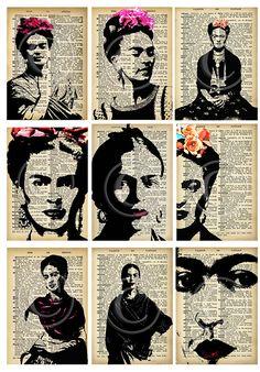 Frida Kahlo ATCs..... A4 digital download collage от Lilysart1