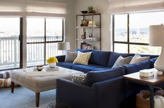 ... Brilliant Design of Living Room Applied Blue Sectional Sofa and Cream Coffee Table add with Colorful ...