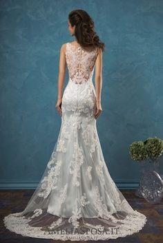 Amelia Sposa V-neck Lace Wedding Dresses Damiana4 / http://www.deerpearlflowers.com/amelia-sposa-2017-wedding-dresses/2/