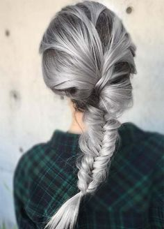 Granny Silver/ Grey Hair Color Ideas: Silver Braided Hairstyle Eyebrow Makeup Tips Long Gray Hair, Silver Grey Hair, Silver Hair Colors, Grey Hair Colors, Grey White Hair, Dark Grey, Black Hair, Pelo Color Gris, Fall Hair