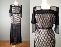 Vintage 20s Spider Web Lace Gown // Flapper Dress // Great Gatsby Dress 25% off with coupon code NYE2013