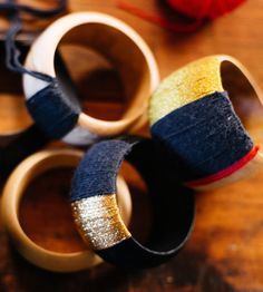 DIY Wooden Silk Wrapped Bangle Kit by Handmade Charlotte sourced from  survivor artisan  co- ops all over the world.