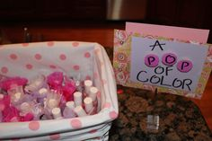 """About to Pop Baby Shower Theme - """"A Pop of Color"""" nail polish favor."""