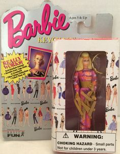 Vintage NEW BARBIE Keychain Mattel Basic Fun ORIGINAL BARBIE BLONDE 1995