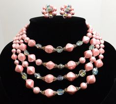 Four+Strand+Pink+Pearl+and+Aurora+Borealis+Necklace