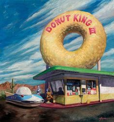 'Donut King III' by Eric Joyner. Find out more about Eric and see more of his fantastic art in his interview at wowxwow.com. (donuts, doughnuts, emotion, human condition, humor, humour, nature, wildlife, painting, robots, sci-fi, science fiction, narrative, story, symbolism, new contemporary art)