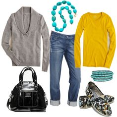 color combo- bright yellow, grey, black and turquoise ... for fall?