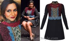 Mindy wore this colorblock lace dress to a screening of Inside Out, February 10th 2016.
