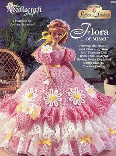crochet barbie clothes | ... of Miami Spring Gown for Barbie Fashion Dolls Crochet HTF PATTERN