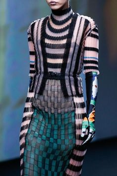 Striking vertical and horizontal mixed stripe patterns #fashion Dior