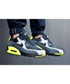 23e87feb5a3 Nike Air Max 90 Leather Vert Noir Gris Sneakers Nike