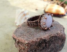 pink opal wire wrapped ring in copper by EdisLittleTreasures, $58.00