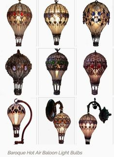 I was doing research about Hot Air Balloon Light Bulbs and I found these.  The comments are by the original poster.~I love these lamps! They're charming, functional and probably terribly hot to the touch. I'm not sure who made them, but my friend Marilyn Bellamy thinks that they can be traced back to a company called Balloonatics Enterprises.