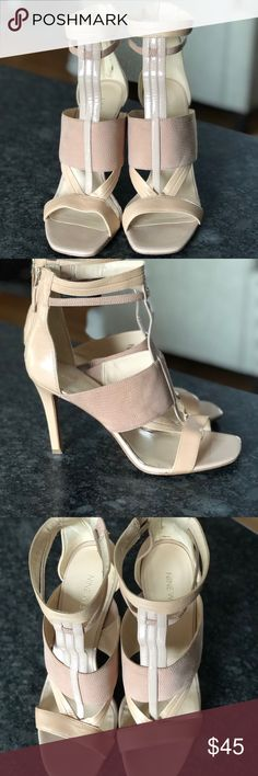 Nine West Beige Kiralee Open Toe Sandals 10.5 One of a kind! Nine West Beige Kiralee Open Toe Sandals 10.5, only worn a few times. Nude 4 inch heeled sandals. Zip back detailing. Genuine leather and patent leather under the toes. Beautiful T-strap that comes up on the ankle. Snakeskin leather part across the foot. True to size. Nine West Shoes Heels