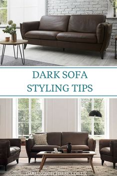 Brown sofas are a practical choice but will also give you endless ways to style your living room. Have a look at this interesting Darlings of Chelsea article about how to decorate around your fabric or leather brown sofa. Dark Brown Leather Sofa, Dark Brown Couch, Brown Leather Couch Living Room, Dark Sofa, Leather Couches, Dark Living Rooms, Black And White Living Room, Modern Living, Sofa Styling