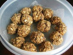 Energy balls: combine 1 cup rolled Oates, 1/2 cup ground flaxseed, 1/3 cup sunflower seeds, 1/2 cup rasins, 1/2 cup granola, 1/3 cup honey, 1/2 cup peanut butter, 1/4 tsp salt, 1 tsp vanilla. Mix all ingredients together, refrigerate for 45 minutes. Roll into balls and store in the fridge in an airtight container.