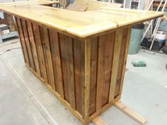 Pallet/barnwood bar. View this and more on my Facebook page at www.facebook.com/letspaintbykelly