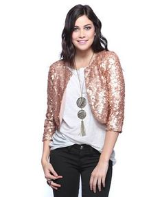 fdf8a02894e Totally drooled over all the sequins in the latest Hart of Dixie episode.  Rose gold cropped sequin jacket--what s not to love