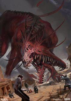 red riding big bad wolf by yohann schepacz oxan studio Sparrow Volume Fantasy Monster, Monster Art, Monster Concept Art, Dark Creatures, Mythical Creatures, Creature Concept Art, Creature Design, Arte Horror, Horror Art