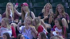 Sorority Girl Selfies Gone Wild! Let's face it, Baseball is a pretty slow moving sport… As such, you can't really blame these cute sorority girls going crazy with the selfies while being forced to watch one!   - http://www.mustwatchnow.com/sorority-girl-selfies-gone-wild/