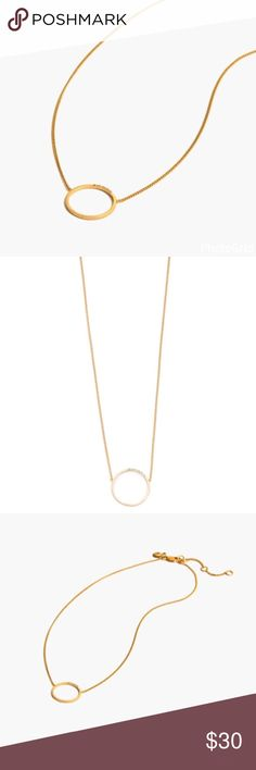 """Madewell Delicate Pave Luster Circle Necklace PRODUCT DETAILS A delicate circle necklace with a hint of pavé. Simple and refined (and totally adjustable).  •Brand new with tags •Sold out style •Length: 16"""" with a 2"""" extender chain for adjustable length. •Brass, Czech stone. •Care instructions: Clean your jewelry after each wearing with a soft cloth. •Import. Madewell Jewelry Necklaces"""