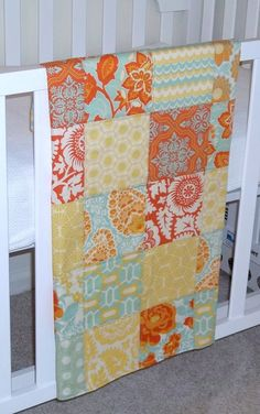 Modern Patchwork Baby Blanket Crib Blanket  - Eclectic made with the New Heirloom Citrine Collection by Joel Dewberry - Soft flannel back