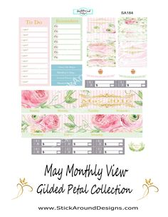 May Monthly View from the Gilded Petal collection at www.StickAroundDesigns.com. Free shipping within the U.S.  #planner #planneraddict