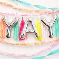 These shiny silver 16 inch foil letter balloons spell out 'YAY' and are a lovely addition to the design of any celebration event or party. These balloons are air fill only. Number Balloons, Letter Balloons, Mylar Balloons, Balloon Backdrop, Balloon Banner, Balloon Quotes, Pastel Party, Art Deco, Banner Letters