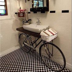 An up cycled bike, a unique bathroom feature!