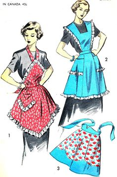 1950s Apron Pattern Advance 5884 Ruffled Full Apron Bib Apron Halter Neck Apron Half Apron Womens Vintage Sewing Pattern Waist 30