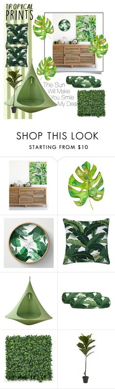 """Tropical prints"" by kaseyhughes ❤ liked on Polyvore featuring interior, interiors, interior design, home, home decor, interior decorating, Cacoon and tropicalprints"