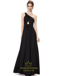 One Shoulder Long Black Dress,Black Floor Length Maxi Dress