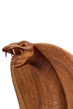 Mahogany wood Wild Animals and Wild Life sculpture by artist Roxanne Pocha titled: 'Spitting Cobra (Carved Wooden Realistic study sculpture statuette)'