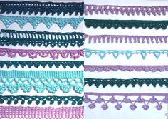 Mönster på virkade spetskanter, uddspetsar, hyllremsor och kantspetsar som du kan sy fast eller fästa efteråt. Virka dem på tvären! Plus några beskrivningar på spetskanter virkade på längden. Crochet Collar Pattern, Jacob's Ladder, Knit Crochet, Crochet Edgings, Blanket, Knitting, Crafts, Inspiration, Dreams