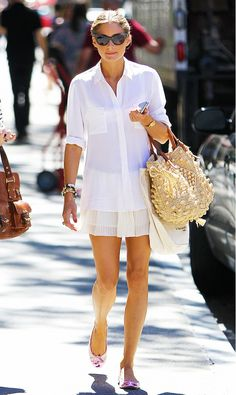 If anyone can make a simple white button down look ultra glam, fresh, and flirty, it's Olivia Palermo.