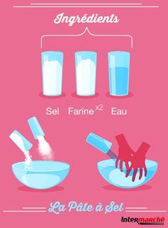 #Astuce : recette de la pâte à sel. Les ingrédients : 1 verre de sel fin, 1 verre d'eau tiède, 2 verres de farine. La préparation : 1) Mélanger le sel et la farine dans un saladier. 2) Ajouter l'eau d'une traite et malaxer jusqu'à obtenir une pâte souple et non collante. 3) Rajouter de la farine si nécessaire. A vous de jouer !