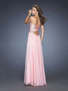 Pink Chiffon with Beading Empire Sweetheart Open Back Prom Dress #02023330