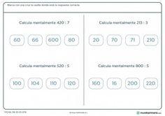 Ficha de cálculo de divisiones exactas con ceros para 4º de Primaria