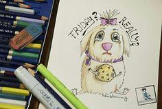Cuttest dog illustration Parissa Kahvand #illustration #zeichnung #dog #cute #frau #strand #beach #sketching