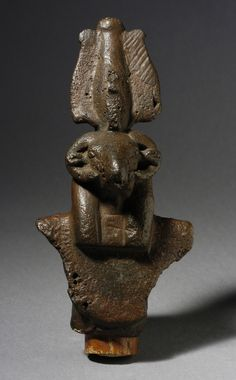 Bronze standard of a ram-headed god. 26th dynasty - Ptolemaic Period. 664 - 30 B.C.E.   Los Angeles County Museum of Art Collections