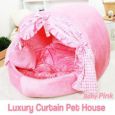 I love this for my girly girl Chihuahua. Luxury Pet Bed Baby Pink Curtain House Large Plush Soft Cave Bed for Dog Cat | eBay
