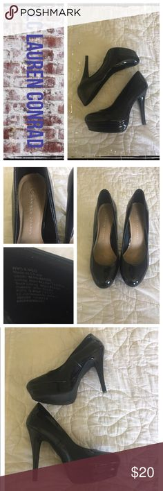 LC Lauren Conrad blk patent leather platform pumps Gently worn; knicks on heels and normal wear on soles. ❇️ Reasonable Offers Only Please ❇️ Smoke and pet free ❇️ If this is a bundle, I WILL NOT break it up and sell    separately ❇️ I do not model anything; I will provide measurements if needed.  ❇️ Please do not hesitate to ask questions, .         ❇️ NO HOLDS, NO TRADES, POSH RULES ONLY! LC Lauren Conrad Shoes Platforms