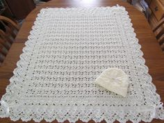READY TO SHIP Ivory Baby Afghan & Hat by pegsyarncreations on Etsy