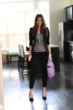 semi-casual work outfit - a simple gray tee paired with simply black slim dress pants, a skinny gold belt and a fitted black blazer